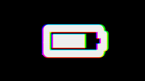 From the Glitch effect arises battery three quarters symbol. Then the TV turns Animation