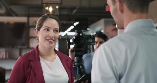3 Journalist In Corporate Interview Footage