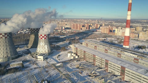 bird eye view heating plant with pipes and cooling towers Footage