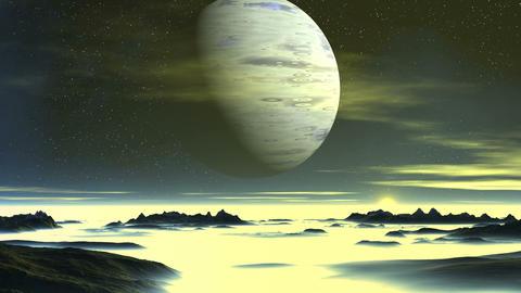 Blue Giant over Alien Planet Animation