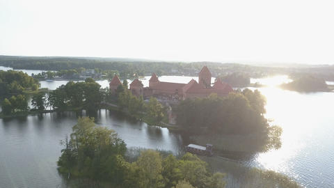 Aerial view of Trakai castle in summer season. Beautiful castle on the lakes in Footage