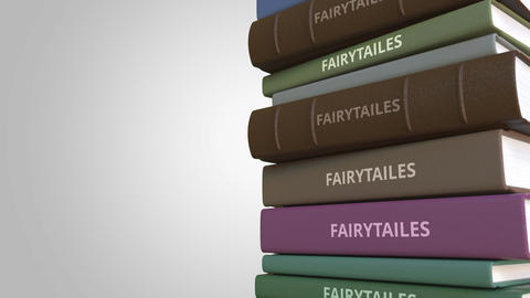 Stack of fairytale books, loopable 3D animation GIF