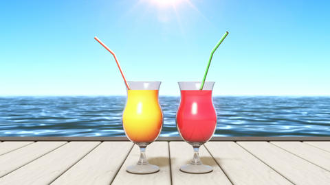 2 tropical drinks at a seashore Animation