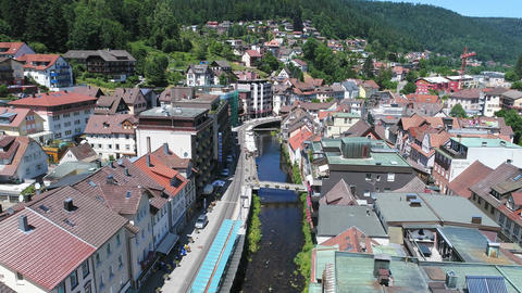 Bad Wildbad from above aerial Footage