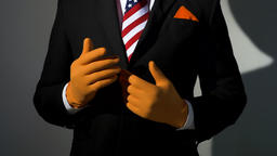 Presidential Suit and American Flag Tie Body Hand Gesturing Live Action