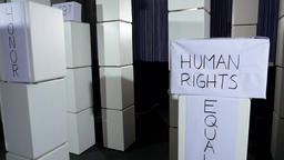 Honor, Human Rights, Democracy Boxes on Stands Footage