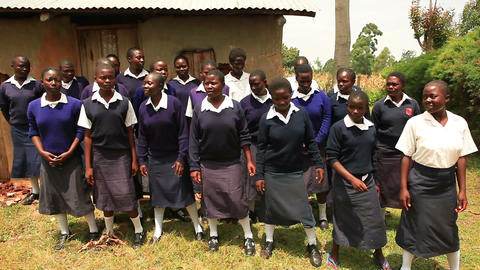 KENYA-C.2012 Young women's chorus singing in the open air of Kenya, Africa c.201 Footage