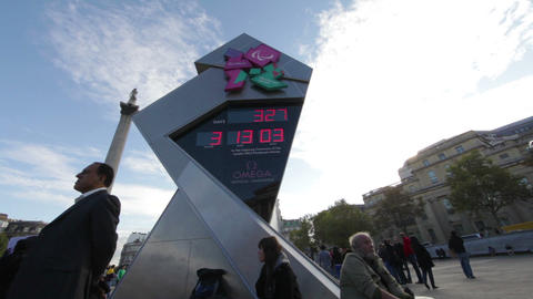 LONDON - OCTOBER 7: Olympic clock at Trafalgar Square on October 7, 2011 in Lond Footage