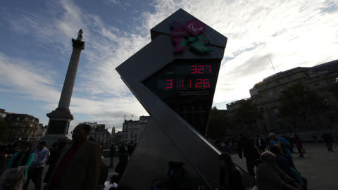 LONDON - OCTOBER 7: Stationary shot of the Olympic clock on Trafalgar Square on  Footage