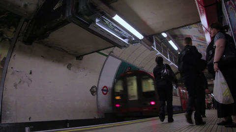People walking in the underground station in London Footage