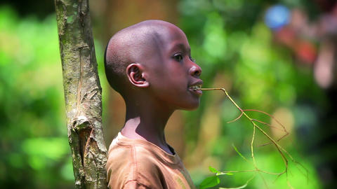 KENYA-C.2012 A young African boy sings while leaning against a sapling in Kenya, Footage