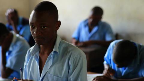 Boy student at school in Kenya Footage