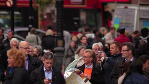 LONDON - OCTOBER 7: Unidentified people and street traffic on October 7, 2011 in Footage