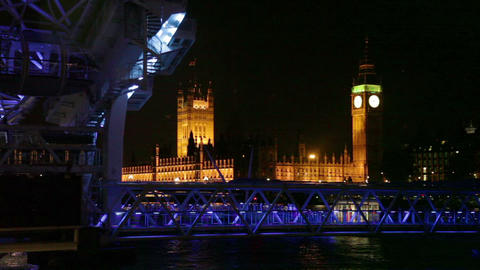 London Eye, Westminster and Big Ben in London Footage