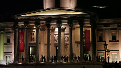 National Gallery entrance in evening light Footage