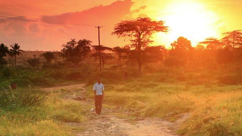 School boy walking at dawn in Kenya Footage