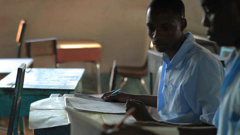 Classroom taking a test in a school in a village in Kenya Footage