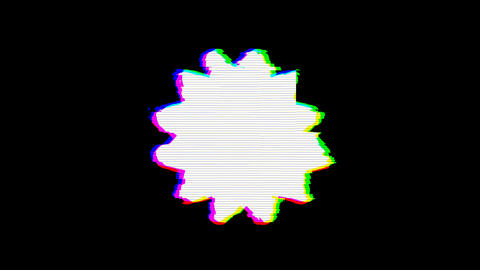 From the Glitch effect arises certificate symbol. Then the TV turns off. Alpha Animation