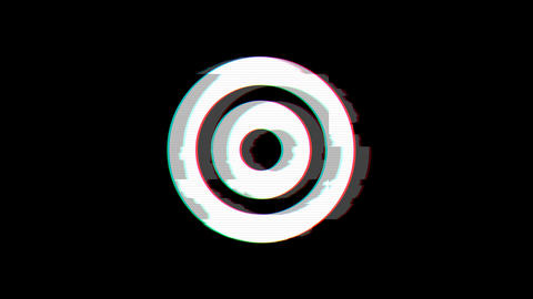 From the Glitch effect arises bullseye symbol. Then the TV turns off. Alpha Animation