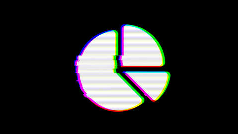 From the Glitch effect arises chart pie symbol. Then the TV turns off. Alpha Animation