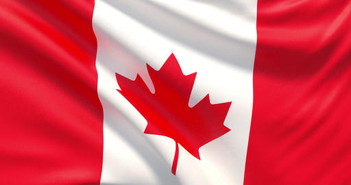 Flag of Canada. Waved highly detailed fabric texture Live Action
