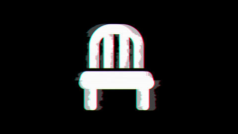From the Glitch effect arises chair symbol. Then the TV turns off. Alpha channel Animation