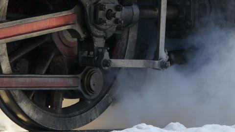 flywheels of a steam locomotive Footage