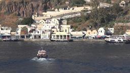 Greece Aegean Sea Cyclades Santorini houses at Fira waterfront Footage