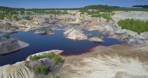 upper view restored ecosystem at lake in abandoned clay pit Footage