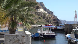 Greece Aegean Sea Cyclades Santorini water taxi berth in Fira harbor Footage