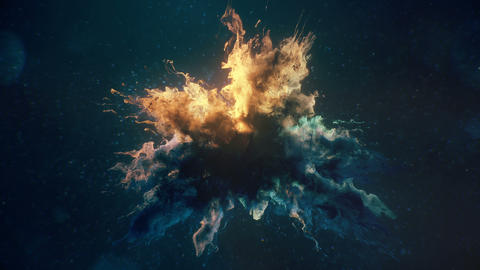 Deep Blue Yellow Color Burst colorful smoke explosion fluid particles background Animation