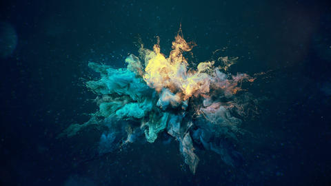Cyan Yellow Color Burst - colorful smoke explosion fluid particles background Animation