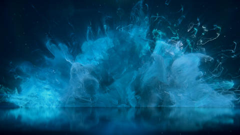 Blue Color Burst colorful smoke explosion fluid particles reflection background Animation