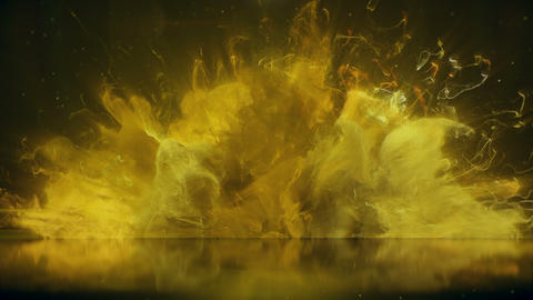 Yellow Color Burst colorful smoke explosion particles reflection background Animation