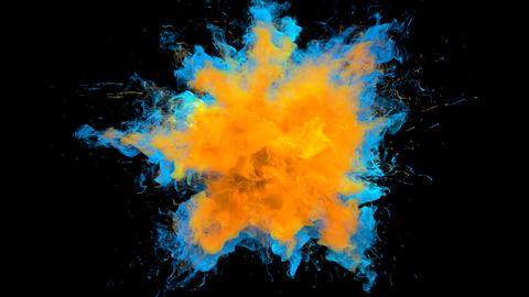 Orange Blue Color Burst - colorful smoke explosion fluid particles alpha matte Animation