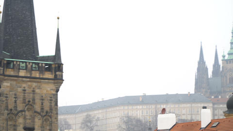 Towers and Churches of old Prague near Charles Bridge Footage
