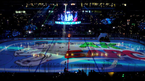 hockey team holographic logo with snow leopard on ice field Footage