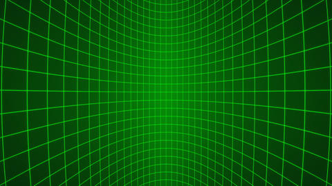 3d vertically moving green neon curved grid loop Animation