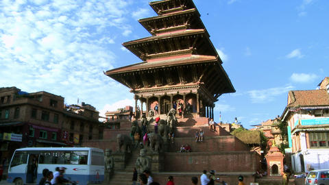 Traffic at Bhaktapur Square in Nepal Footage