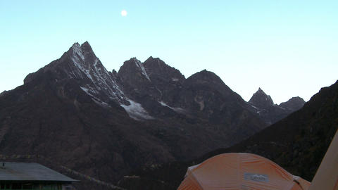 Tents pitched in the shadow of the Himalayas Footage