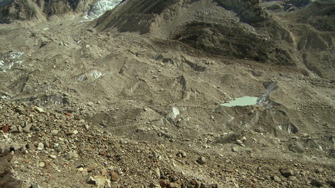 Panorama of a glacier flowing down a valley from the Himalayas Footage