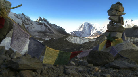 Cairn with Buddhist prayer flags in the Himalayas Footage