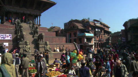 Busy village square in Nepal Footage