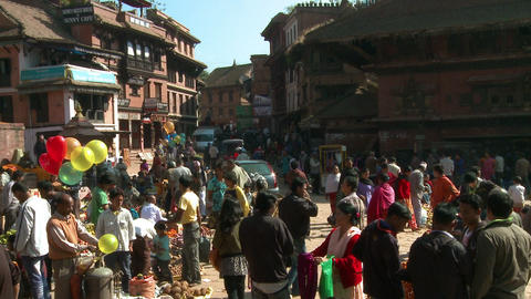 Busy street in a city in Nepal Footage