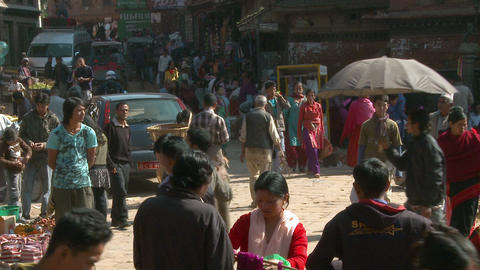 Busy street in a Nepali city Footage