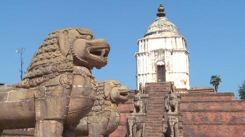 Stone dragons at a temple complex in Nepal Footage