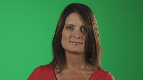 Close-up green screen shot of a middle-aged caucasian woman Footage