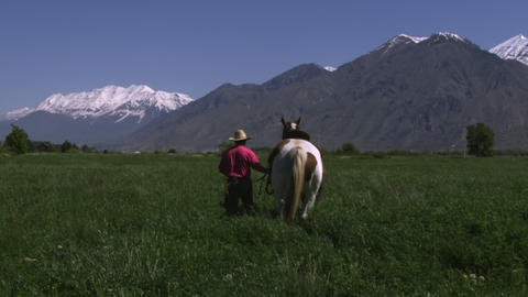 Slow tilting shot of a cowboy guiding his horse towards the meadow Footage
