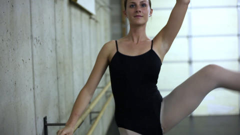 Handheld shot of a ballet dancer rehearsing Footage