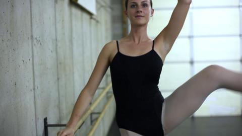 Handheld shot of a ballet dancer rehearsing Footage